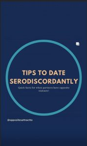 "A screenshot of an instagram post, with the words ""Tips to Date Serodiscordantly"""