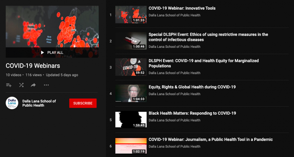 Dashboard of the Dalla Lana YouTube page for COVID-19 webinars