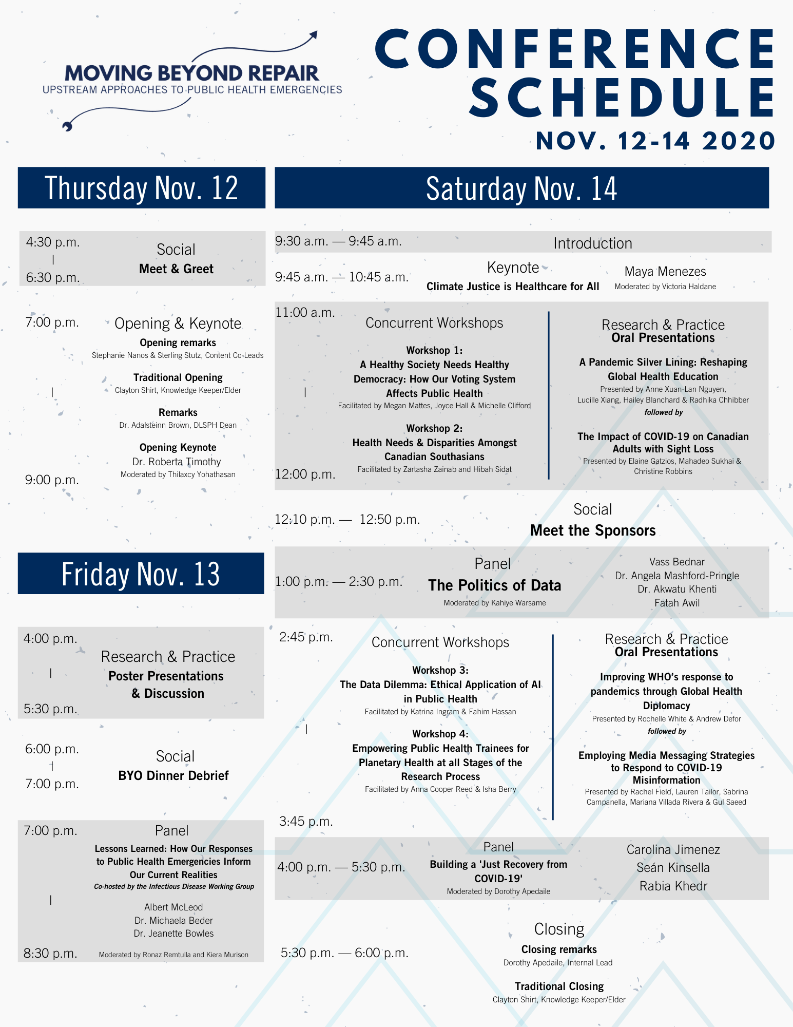 Image of the 2020 Student-Led Conference schedule
