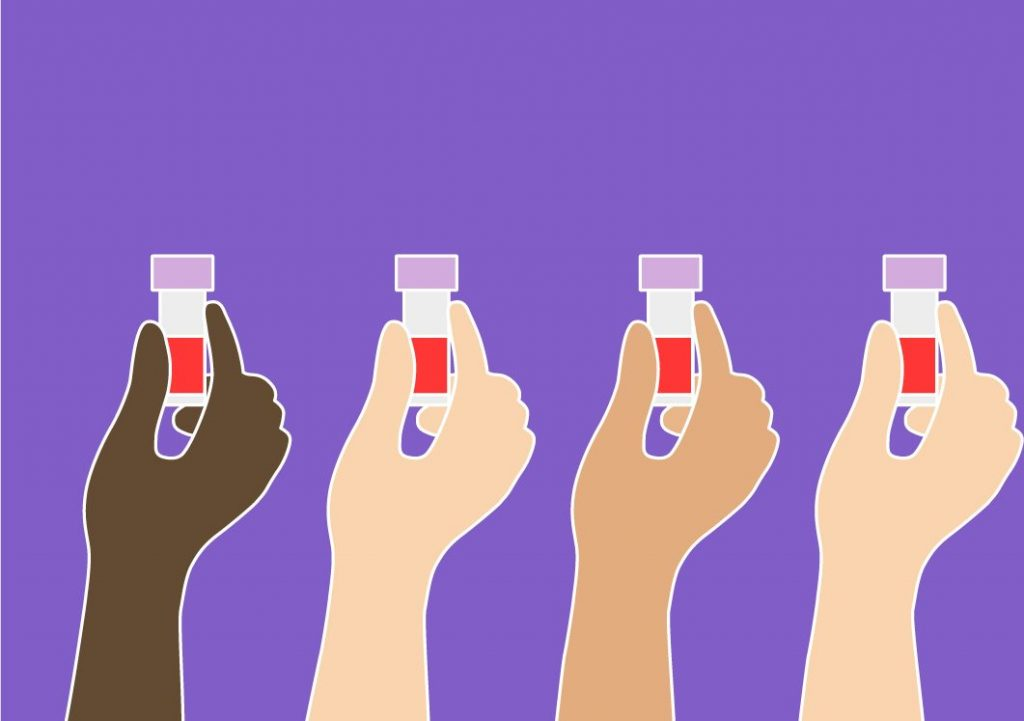 Four hands side by side each holding up a blood collection tube